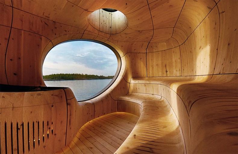 加拿大Bernyk 群岛石窟桑拿房设计3
