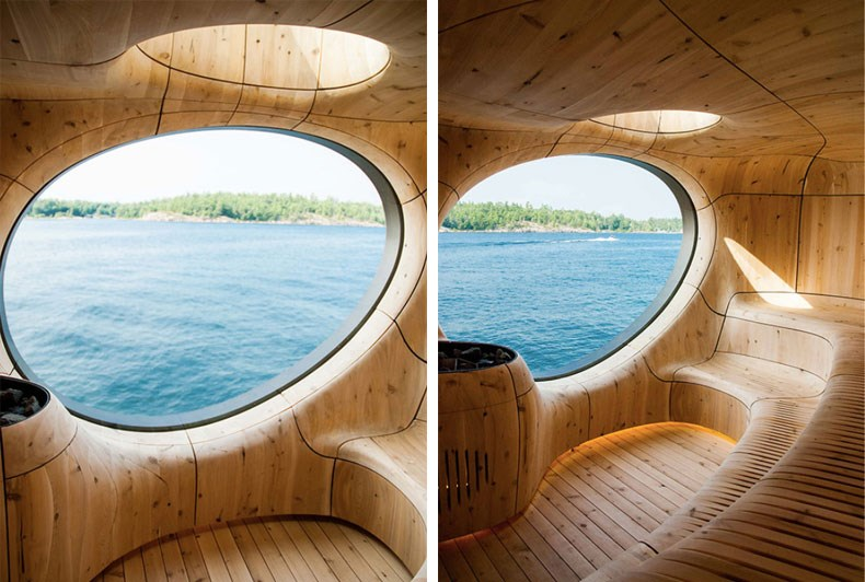加拿大Bernyk 群岛石窟桑拿房设计6
