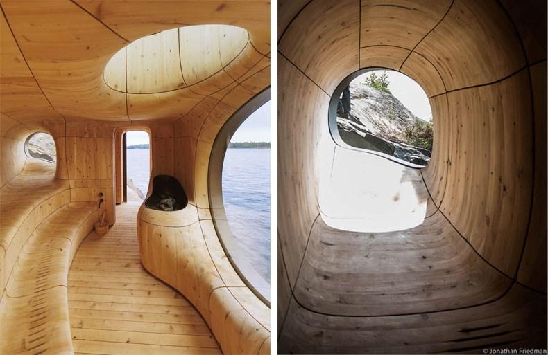 加拿大Bernyk 群岛石窟桑拿房设计7