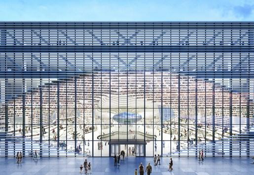 MVRDV与天津市城市规划设计研究院建筑分院共同设计了天津滨海图书馆。作为建立天津市文化区域这一整体规划的一部分,这个建筑在承担教育中心功能的同时,也将成为公园与文化中心的连接体。一个椭圆形的开口直穿建筑中部,由眼睛撑开;眼睛是一个球形镜面礼堂,它矗立于中央天井内,扩大空间的视觉效果。阶田式书架呼应球体,形成了一个内部地形景观;它的轮廓向外延伸,包围建筑外部。这样一来,内部的阶梯书架在外部也被表现出来,每一层还同时起到遮光栅格的作用。   眼睛是图书馆的中心。它将建筑掏空,在形成书架