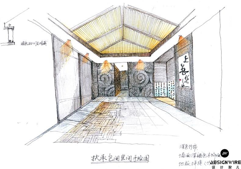 创意两点透视室内手绘图