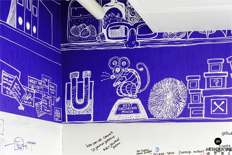 37 - Feature wallpaper in The Lab was specially-created in a blueprint style by artist Claudia Stocker on a lab-rat theme_副本.jpg