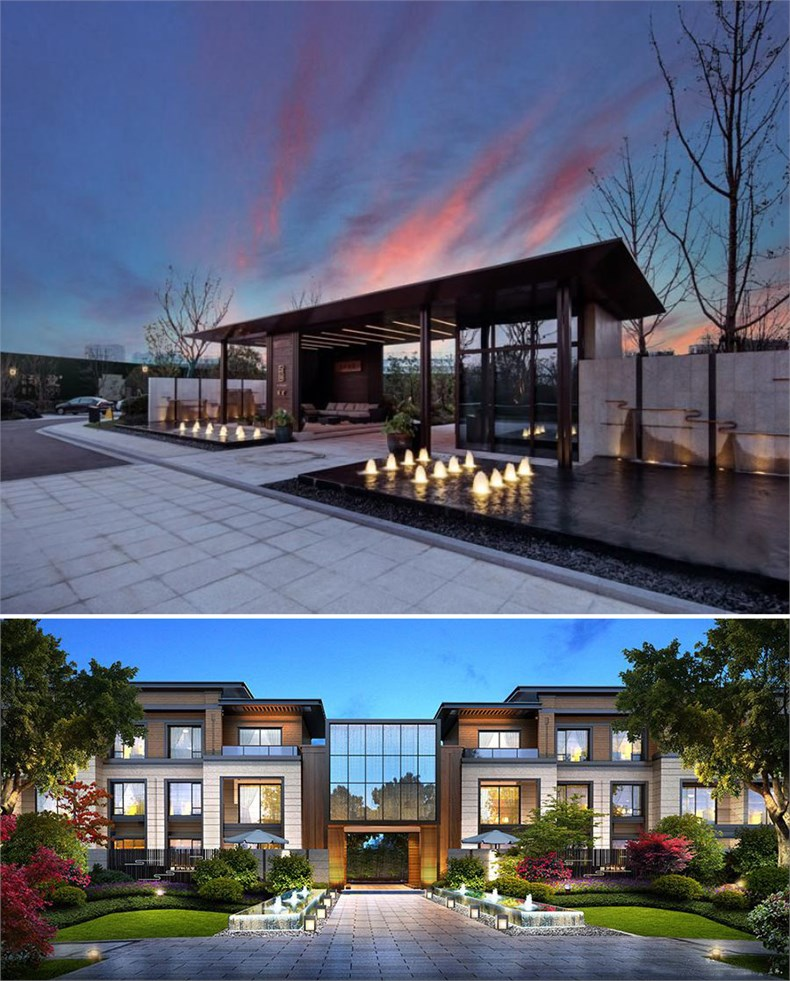 """【建筑设计:aai国际】   """"面对湿地公园,排屋以大面宽小进深,全南卧"""