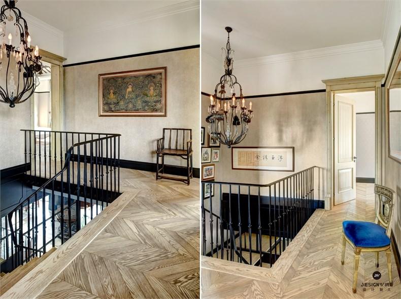 主卧和主卫是纯正的法式风情,黑白大理石拼花地砖和马赛克图案,还有图片