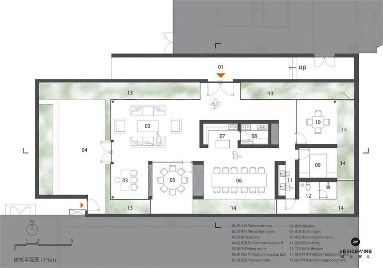 购物中心顶层休闲空间设计平面图和立面图01.jpg
