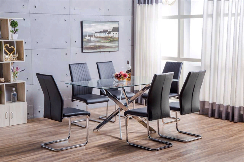 leonardo-clear-glass-modern-metal-chrome-dining-table-and-6-faux-leather-dining-chairs.png