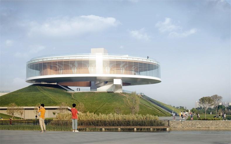 """Studio A+_郑东新区龙湖公共艺术中心_23_绿丘与""""大象""""楼梯是圆环的两个支点_存在建筑.jpg"""